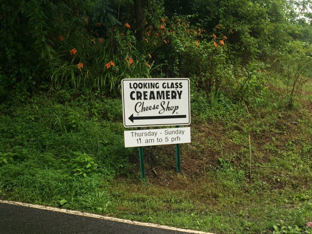 Look for their sign to find Looking Glass Creamery