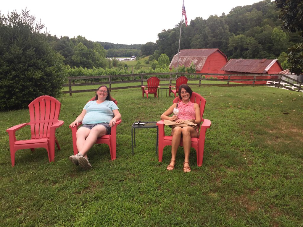 enjoying the patio at South Creek Winery and Vineyard