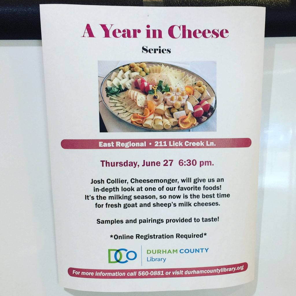 A Year in Cheese Program at the Durham County Libary