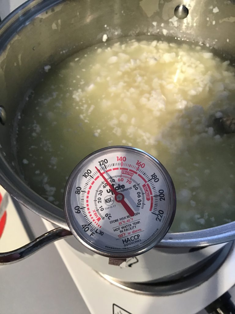 Curds and Whey! Be sure to keep an eye on your temperature!