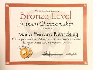 Bronze Level Artisan Cheesemaker