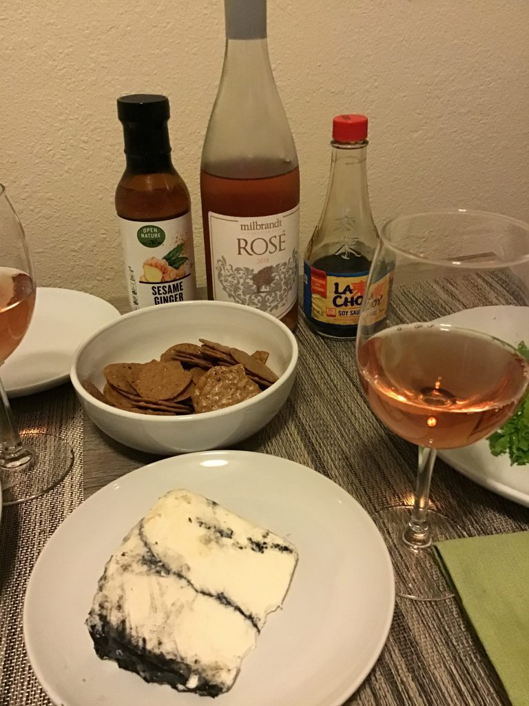 First Snow cheese by Jumpin Good Goats with Milbrandt Rosé and our substitute salad dressing