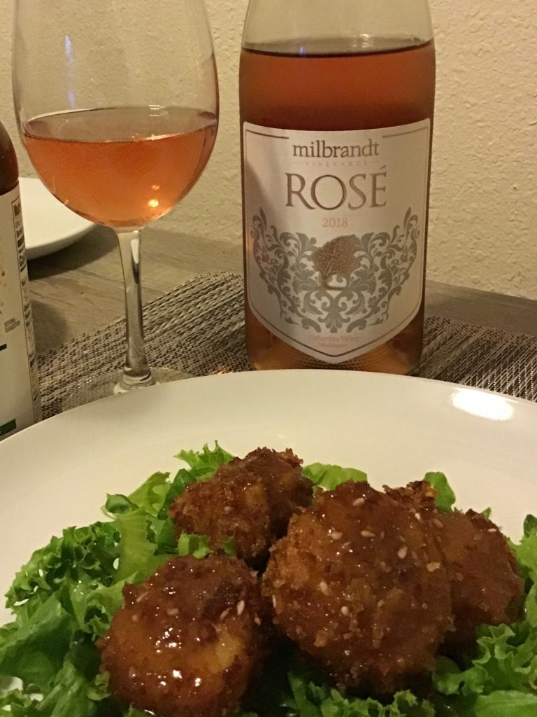 Milbrandt Rosé with Wasabi Crusted Scallops