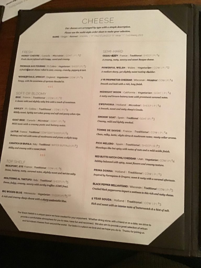 The cheese menu, page 1 at The Welsh Rabbit Cheese Bistro, Fort Collins, CO