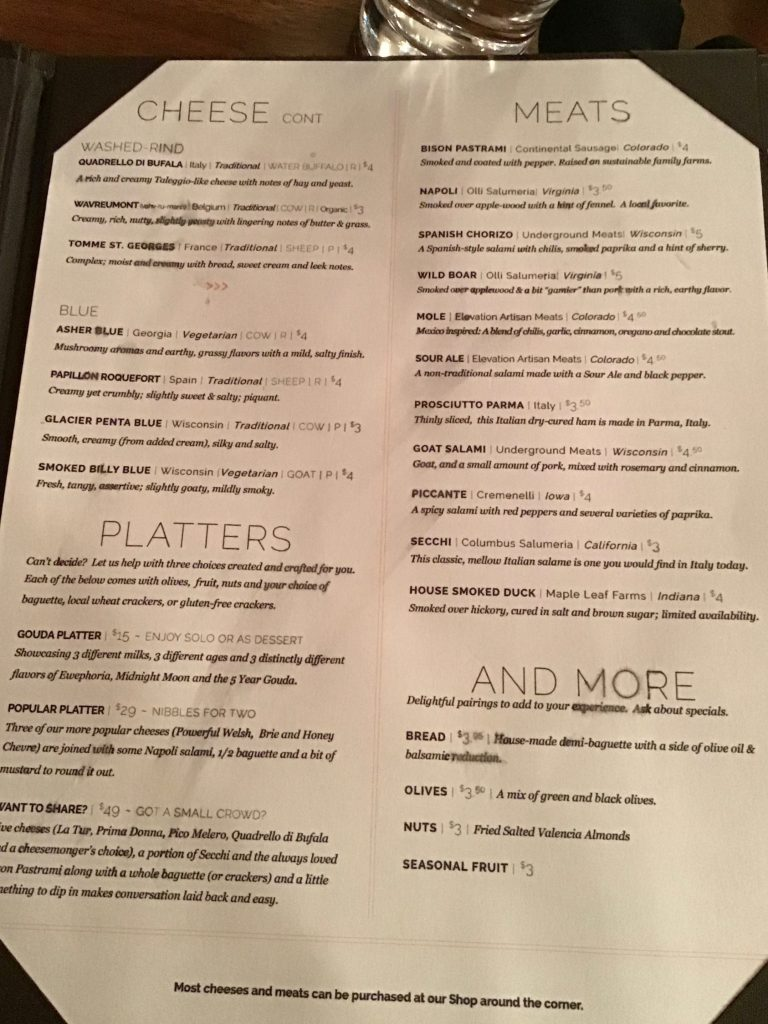 The cheese menu, page 2 at The Welsh Rabbit Cheese Bistro, Fort Collins, CO