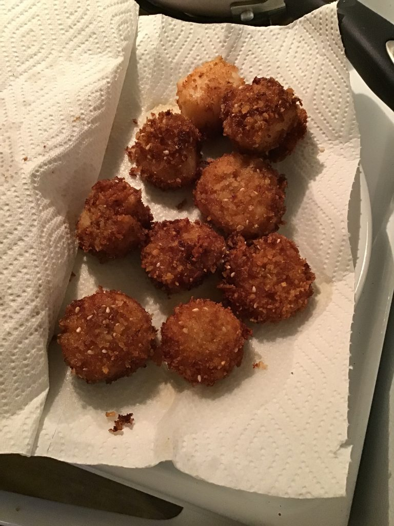 Wasabi Crusted Scallops, fried and ready to eat