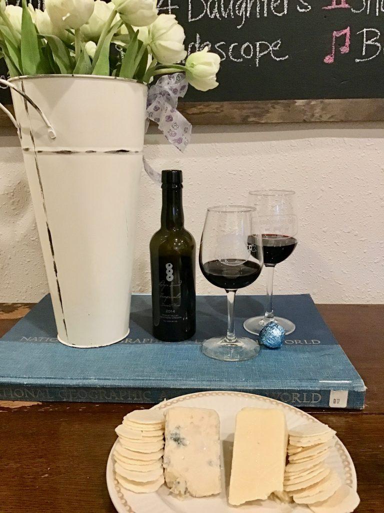 Oregon Treats- Ledger David Dessert Wine, Mount Mazama and Echo Mountain cheeses and a Smokey Blue Truffle