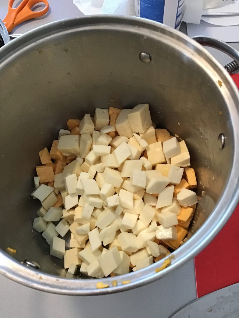 The curds of all three milks, millled and ready to eat