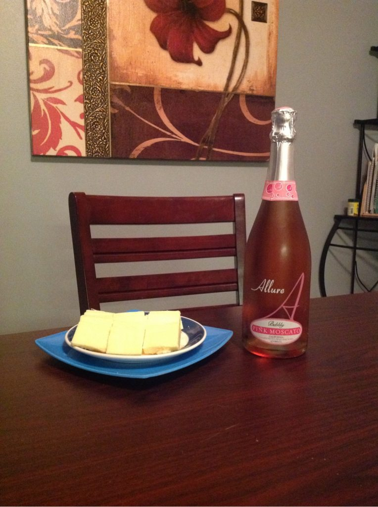 sparkling moscato and cheddar