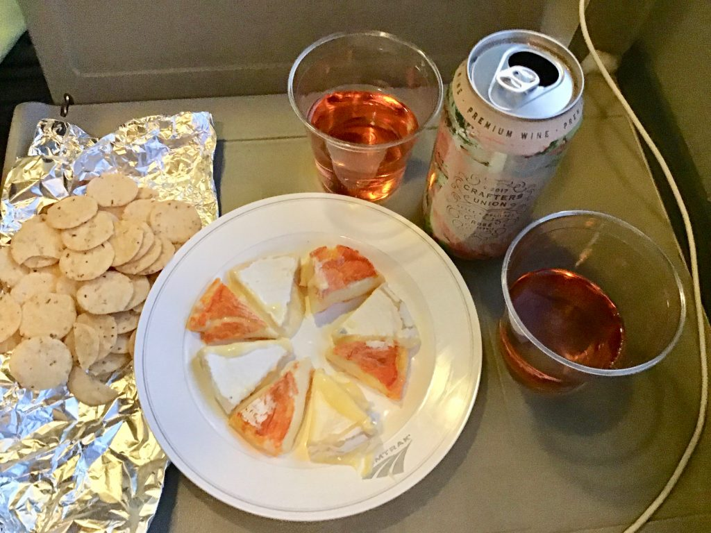 Crafter's Union rosé in a can, camembert and the MouCo Colorouge cheese