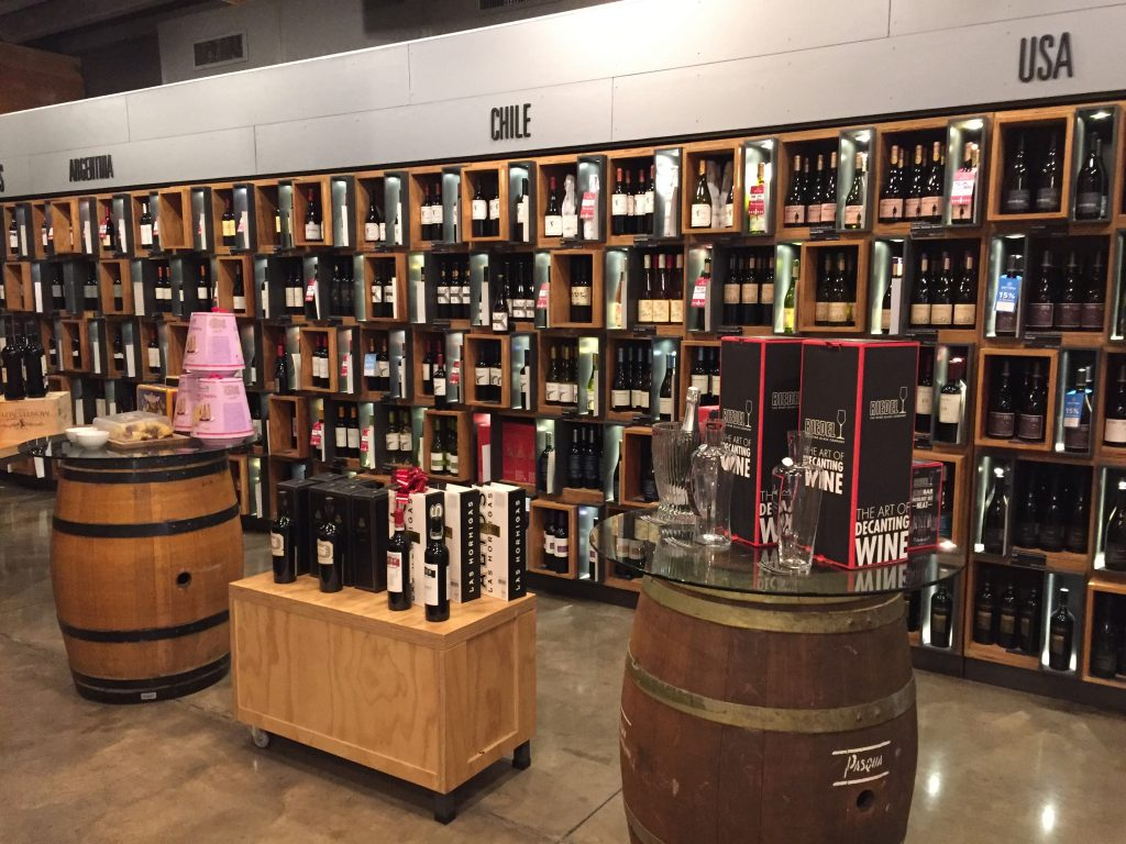 the Chilean wine section, filled with bottles of Cono Sur, at Bottege Wine Shop, San Jose, CR