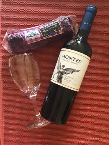 Montes Classic Series, Reserve Merlot 2017 and Montchevre blueberry vanilla flavor goat cheese log