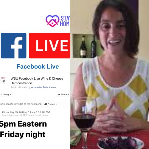 Maria does her first FB live show for Worcester State Alumni