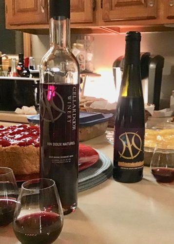 Dessert wines from Cellar Door Winery on Christmas Eve