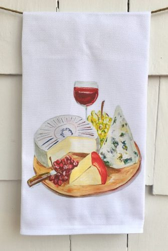 wine and cheese kitchen towel