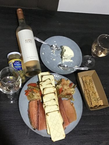 Wine pairing with trout, veggies, and cheese