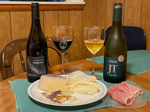 Celebrating Wine and Cheese Day with Domaine de la Piégonne Ventoux, Chateau de Nages JT, Syrah soaked Toscano cheese, and Delice de Bourgogne
