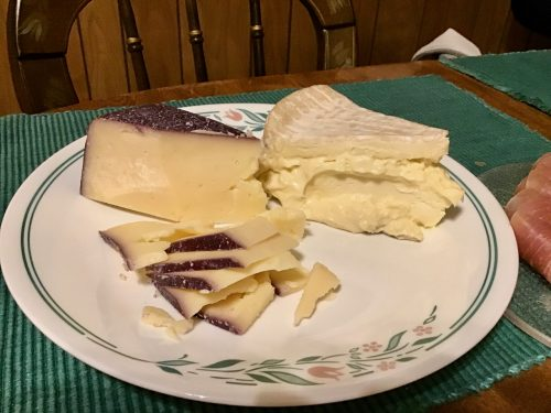 Syrah soaked Toscano cheese and Delice de Bourgogne